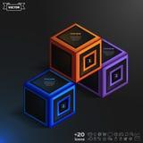 Infographic isométrico do vetor com cubos coloridos Fotografia de Stock Royalty Free