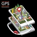 Infographic isométrico plano 3d del mapa de ruta de GPS Foto de archivo libre de regalías