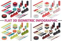 Infographic isométrico plano 3d para sus presentaciones del negocio Iconos coloridos 4 temas de los colores Fotografía de archivo