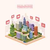 Infographic isométrico social del concepto 3d de la red Fotos de archivo