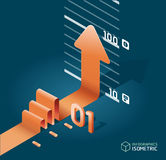 Infographic isometric arrow diagram chart. Detailed Royalty Free Stock Image