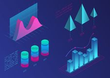 Infographic isometric vector graph elements. Data and business financial diagrams graphs. Statistic data. Gradient color. Infographic isometric vector graph Royalty Free Stock Image