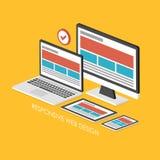 infographic isometrico 3d per web design rispondente Fotografia Stock Libera da Diritti