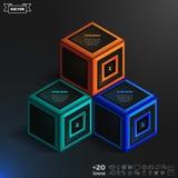 Infographic isometrico di vettore con i cubi variopinti Immagini Stock