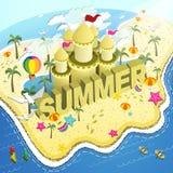 Infographic isometrico piano 3d della spiaggia di estate illustrazione vettoriale