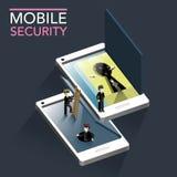 Infographic isometrico piano 3d di concetto mobile di sicurezza Fotografia Stock