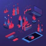 Infographic isometrico piano 3d per le vostre presentazioni di affari Grande insieme del infographics con le icone di dati, grafi Fotografia Stock