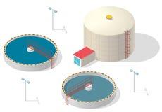 Infographic isometrisk byggnad för vattenbehandling, stor bakteriereningsapparat på vit bakgrund Royaltyfria Bilder