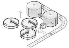 Infographic isometrisk byggnad för vattenbehandling, stor trådbakteriereningsapparat på vit bakgrund Arkivfoton