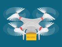 Infographic isométrico da Web do conceito 3d da entrega do quadcopter do zangão Imagem de Stock