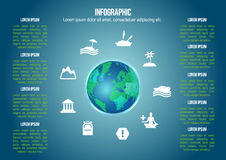 Infographic jordklot med sorten av feriesymbolen Arkivbild