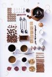 Infographic kaffesamling av ingredienser, recept Lekmanna- lägenhet, Arkivfoto
