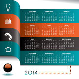 infographic kalender 2014 royaltyfri illustrationer