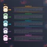 Infographic Kettlebell, timeline stock illustrationer