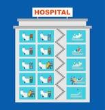 Infographic kliniek Het ziekenhuis bouwartsen in bureaus De medische bouw Arts en Patiënt vector illustratie
