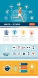 Infographic kondition och sportar stock illustrationer