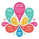 Infographic-Konzept - abstrakter Hintergrund - kreative Vektor-Illustration mit den bunten Blumenblättern und den Ikonen Stockfoto