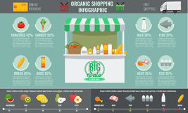 Infographic Konzept des Supermarktes organisches Einkaufs Stockfotos