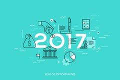 Infographic-Konzept, 2017-jährig von den Gelegenheiten Neue heiße Tendenzen und Vorhersagen in der Wirtschaft, Budgetplanung, Gel stock abbildung