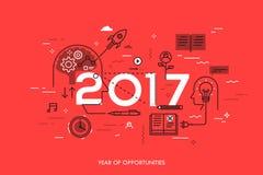 Infographic-Konzept, 2017-jährig von den Gelegenheiten Neue Tendenzen in der Ideengeneration, Zeitmanagement, Erfahrungsaustausch stock abbildung