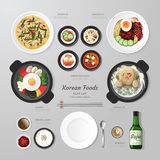 Infographic Korea foods business flat lay idea. Stock Photo