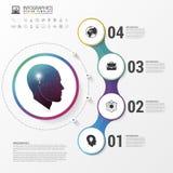 Infographic Kreatywnie głowa Kolorowy okrąg z ikonami wektor Obrazy Stock