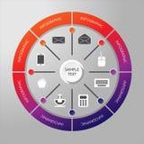 Infographic-Kreis mit Ikonen Stockfoto