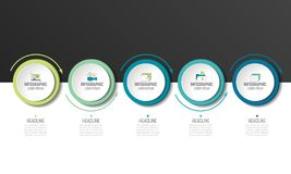 5 Infographic krok Okręgi z strzała ilustracja wektor