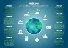 Infographic kula ziemska z wakacyjną ikoną jakby ilustracja wektor