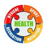 Infographic läkarundersökning Hälsa är sporten, hygien, näring och rec Royaltyfri Bild