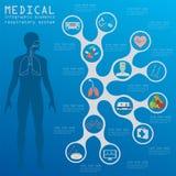 Infographic läkarundersökning och sjukvård, infograph för respiratoriskt system Royaltyfri Bild