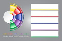 Infographic labels as a blank circle and colorful semicircle aro Royalty Free Stock Image