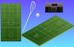 Infographic lacrosse playground, ball, lacrosse stick, and scoreboard. Top view of lacrosse stadium. Isolated. In vector stock illustration