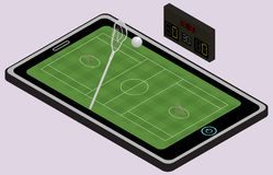 Infographic lacrosse playground, ball, lacrosse stick and tablet. Isometric image. Isolated. In vector stock illustration