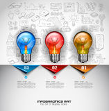 Infographic Layout for Brainstorming Concept background with graphs sketches. A lot of hand drawn infographics and related design elements are included plus 3D Royalty Free Stock Images