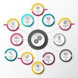 Infographic Layout with Circle Labels. Data Flow Infographics Design. Infographic Layout with Circle Labels. Data Flow Vector Infographics Design stock illustration