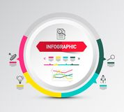 Infographic Layout with Circle Paper Label. And Icons. Data Flow Chart Concept. Vector Company Annual Report Infographic Design with Graphs royalty free illustration