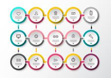 Infographic Layout with Circle Paper Labels. And Web App Technology Icons. Vector Infographics Flow Design stock illustration