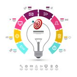 Infographic Layout with Data Flow Concept. And Bulb Symbol in the Middle. Vector Infographics Design with Icons on White Background royalty free illustration