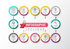Infographic layout with Sample Text and Icons on Circle Labels. Infographics Concept with Data Flow. Infographic layout with Sample Text and Icons on Circle royalty free illustration