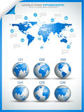 Infographic layout template with world maps. Stock Images