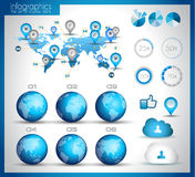 Infographic layout template with world maps. Royalty Free Stock Photo