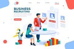 Infographic Leadership Employment Concept Vector. Infographic of employment leadership. Recruit for business, recruitment presentation. Job hr resource royalty free illustration
