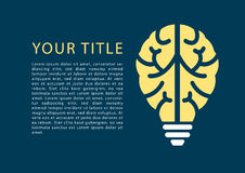 Infographic with light bulb and brain as template for topics e-learning, machine learning, design thinking Royalty Free Stock Images