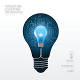 Infographic  light bulb flat line idea. Vector illustration. Stock Image