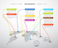 Infographic: Light World map with pointer marks Royalty Free Stock Photography