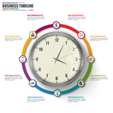 Infographic linear timeline vector design template Royalty Free Stock Photo