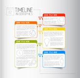 Infographic linii czasu raportu szablon z opisowymi bąblami Fotografia Stock