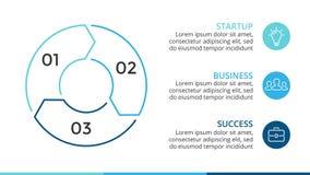 Infographic linjära pilar för vektorcirkel, cirkuleringsdiagram, graf, presentationspajdiagram Affärsidé med 3 alternativ Royaltyfria Bilder