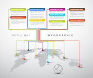 Infographic: Ljus världskarta med pekarefläckar stock illustrationer